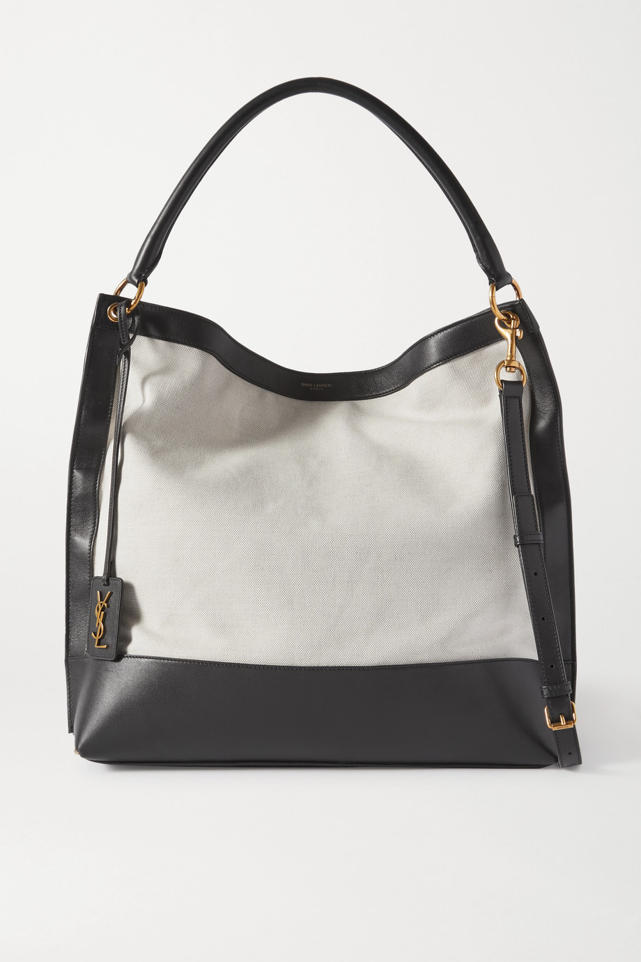 SAINT LAURENT Tag Tote aus Canvas und Leder