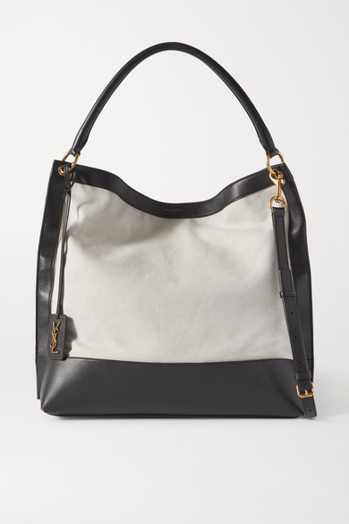 SAINT LAURENT - Tag Leather And Canvas Tote