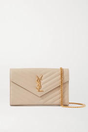 SAINT LAURENT Envelope quilted textured-leather shoulder bag