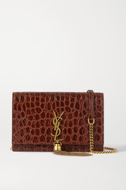 SAINT LAURENT Kate small croc-effect leather shoulder bag