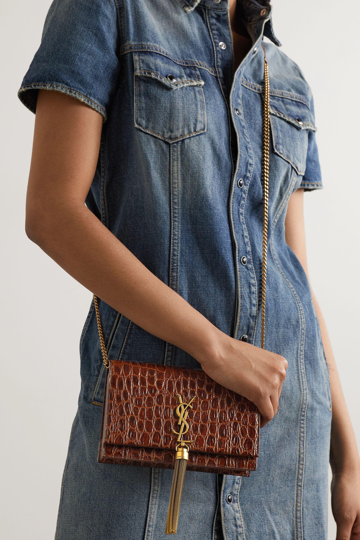 SAINT LAURENT Kate small croc-effect leather shoulder bag