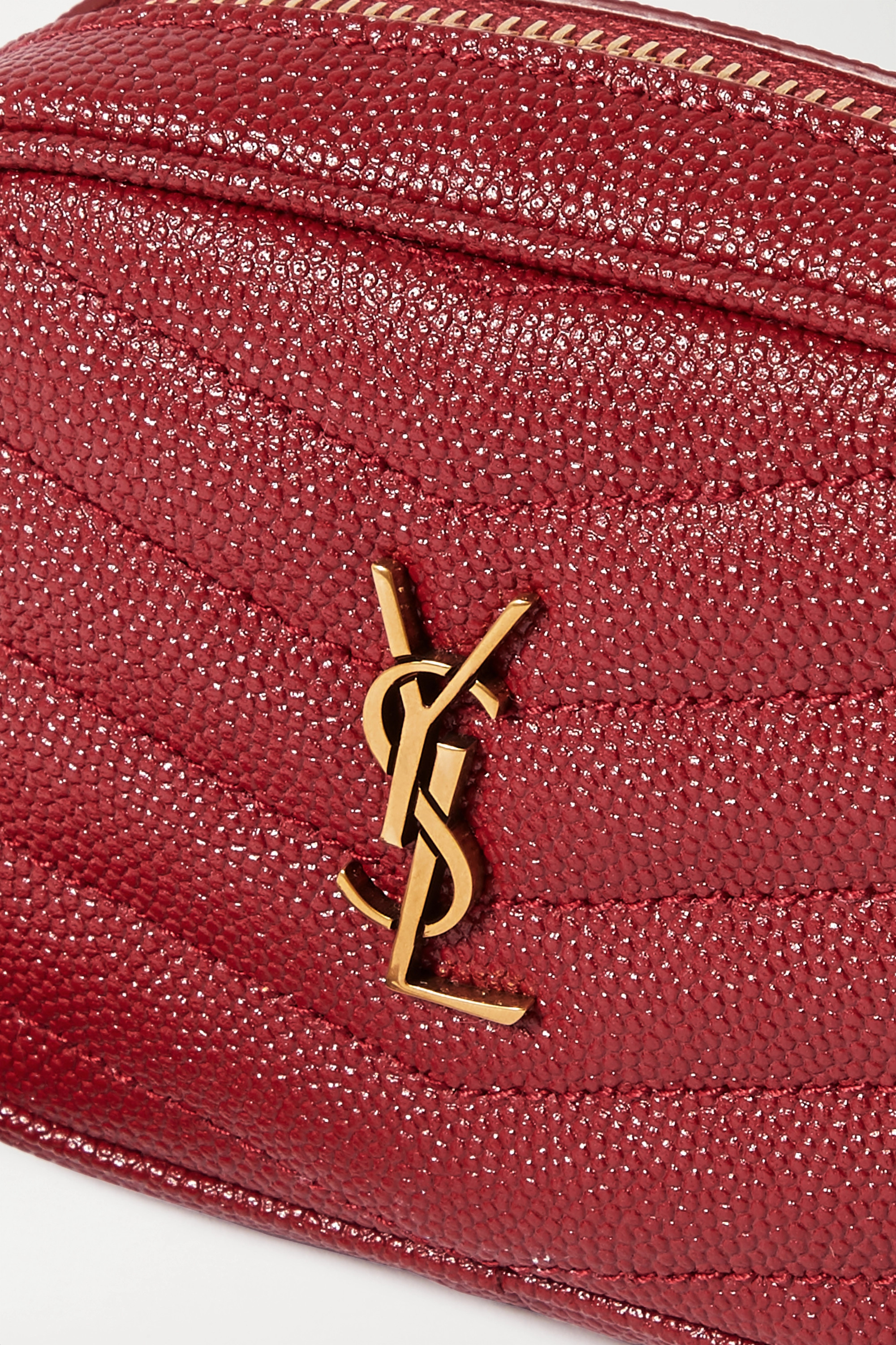SAINT LAURENT Lou baby textured-leather shoulder bag