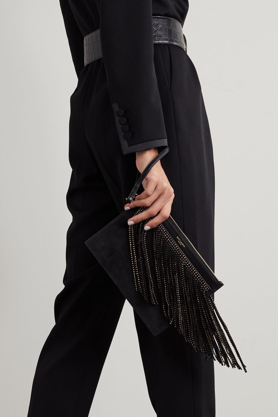 SAINT LAURENT Studded fringed leather and suede pouch