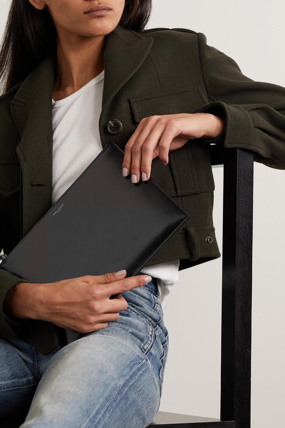 SAINT LAURENT Large leather pouch