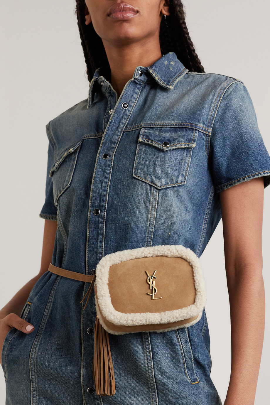 SAINT LAURENT Lou shearling-trimmed suede belt bag
