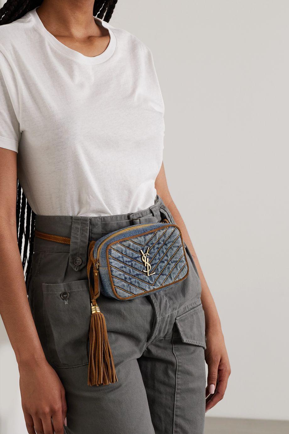 SAINT LAURENT Lou suede-trimmed denim belt bag