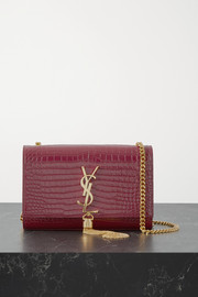 SAINT LAURENT Kate small croc-effect glossed-leather shoulder bag