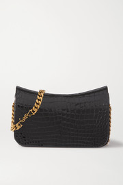 SAINT LAURENT Elise croc-effect glossed-leather shoulder bag