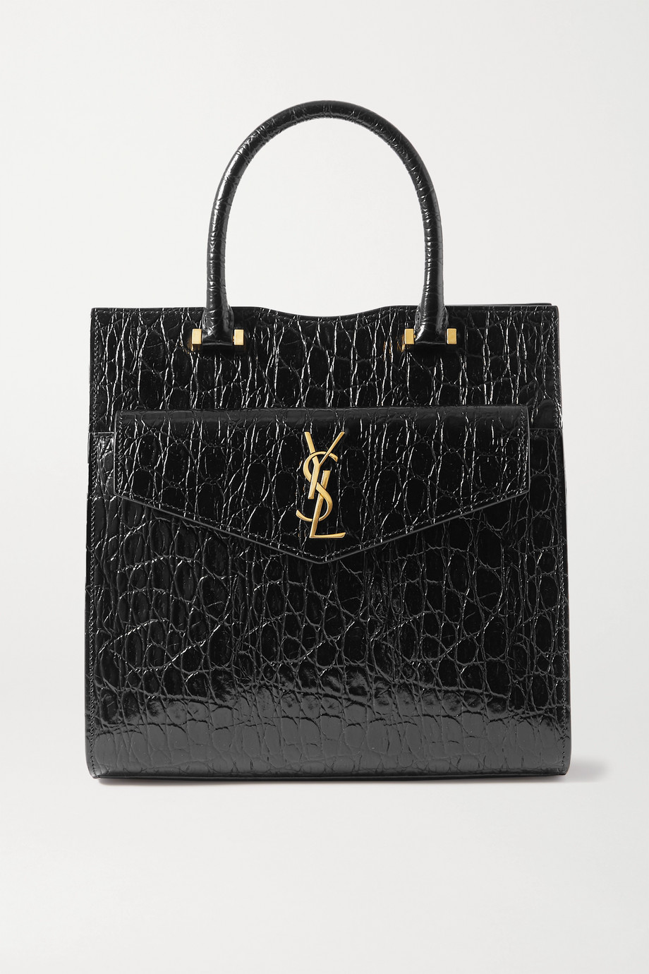 SAINT LAURENT Uptown small croc-effect patent-leather tote