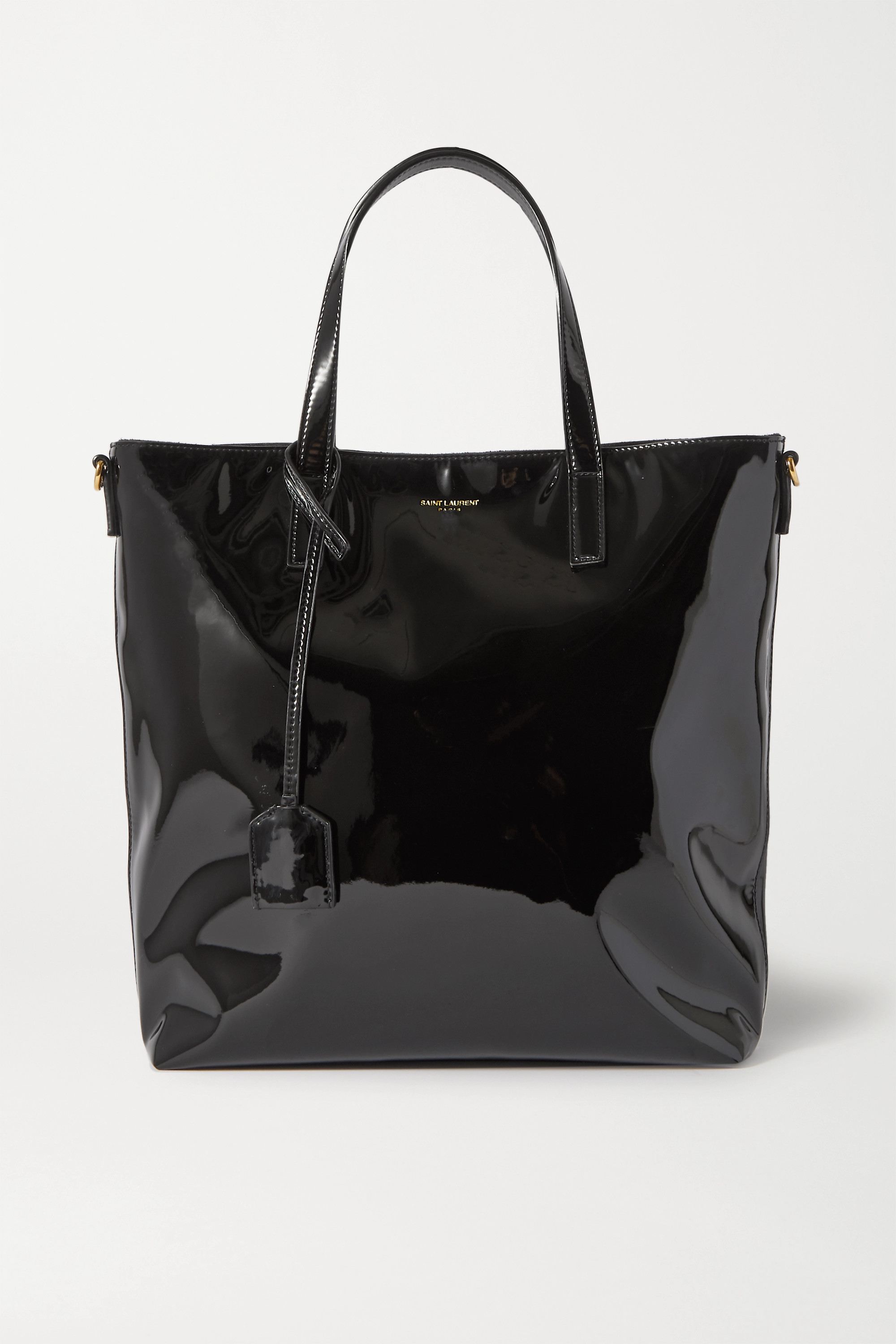 SAINT LAURENT Shopping Toy mini patent-leather tote