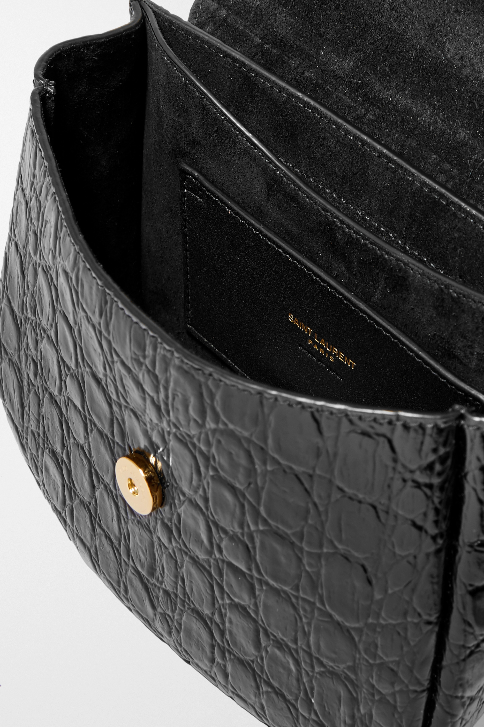 SAINT LAURENT Kaia small croc-effect leather shoulder bag