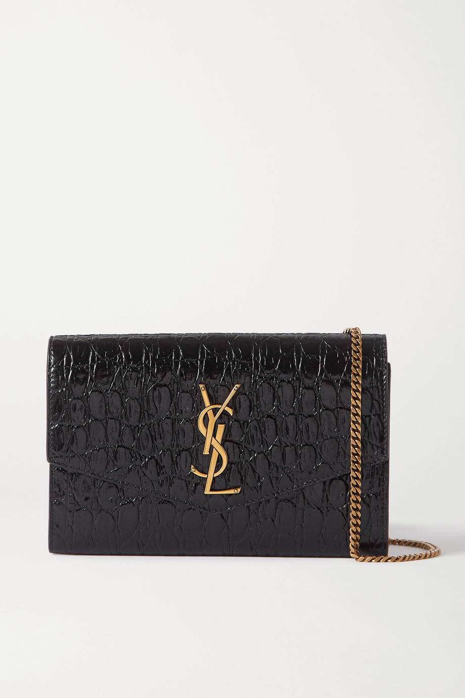SAINT LAURENT Uptown croc-effect patent-leather shoulder bag