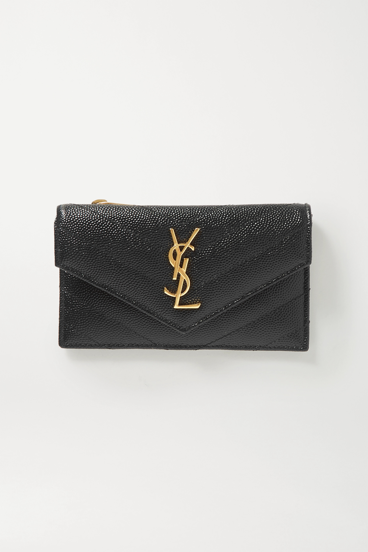 SAINT LAURENT Monogram quilted textured-leather wallet