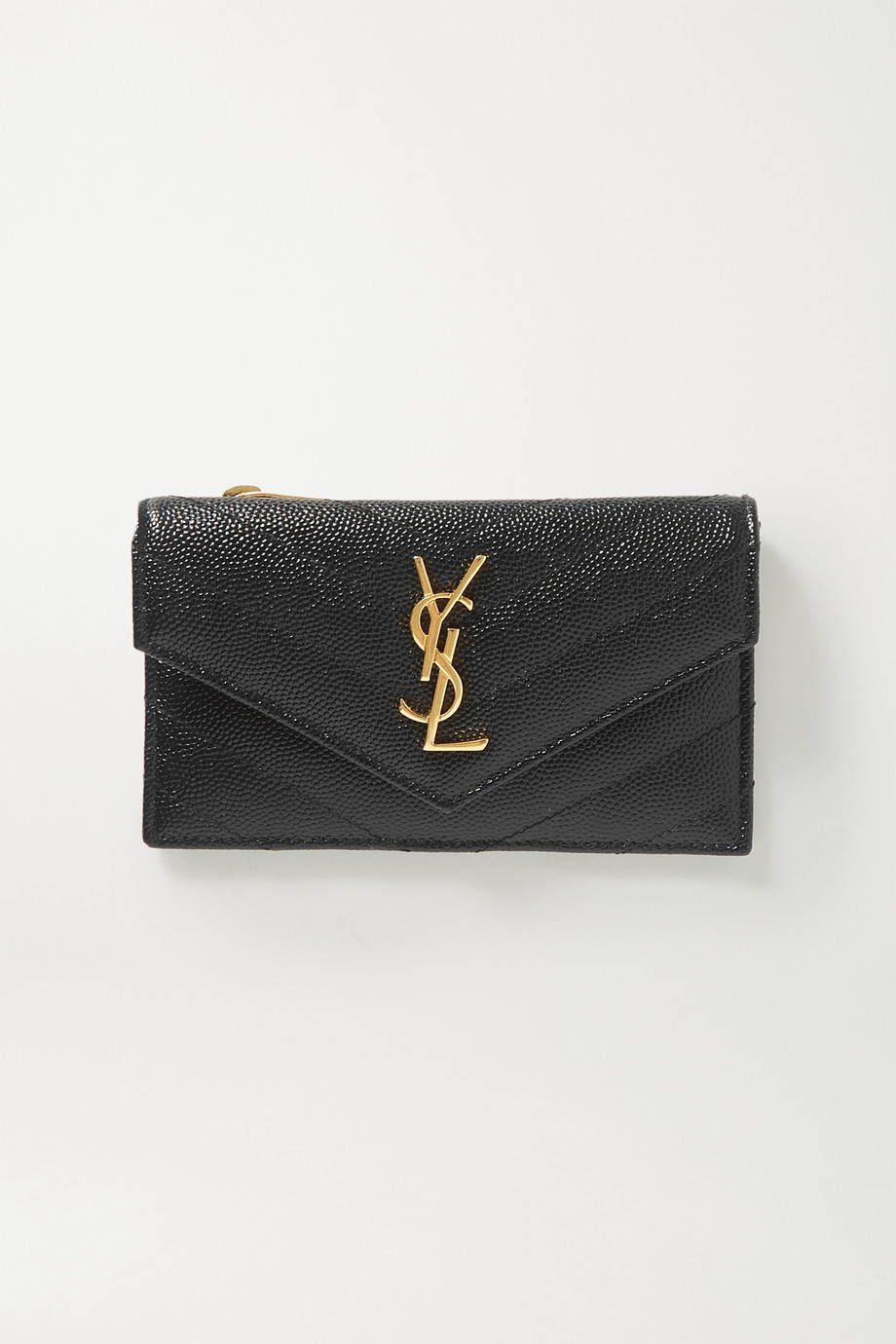 SAINT LAURENT Monogram quilted textured-leather wallet