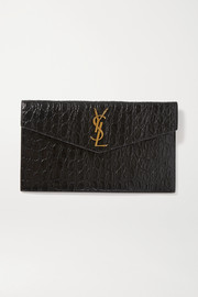 SAINT LAURENT Uptown croc-effect leather pouch