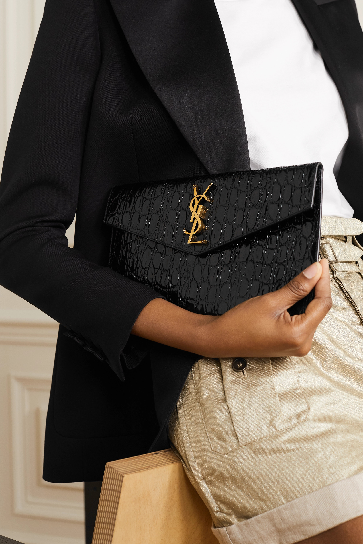 SAINT LAURENT Uptown croc-effect leather pouch