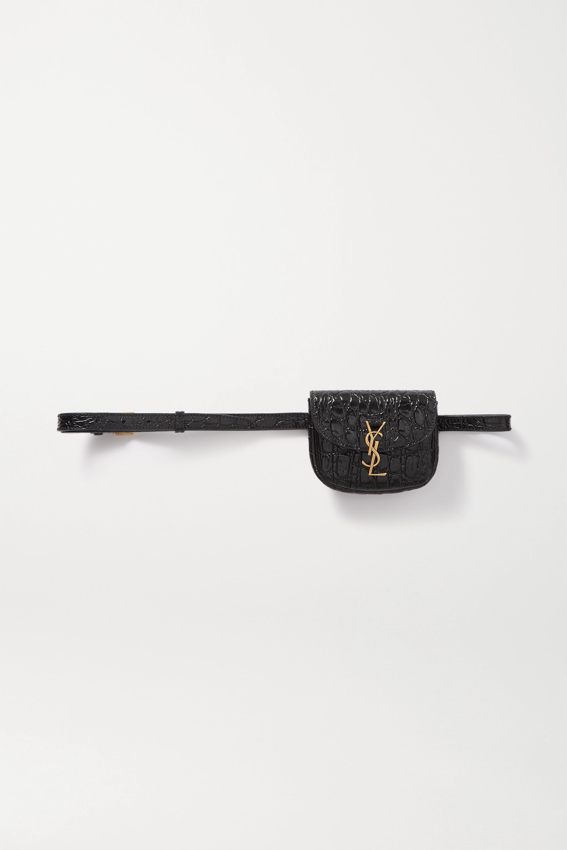 SAINT LAURENT Sac ceinture en cuir verni effet croco Kaia