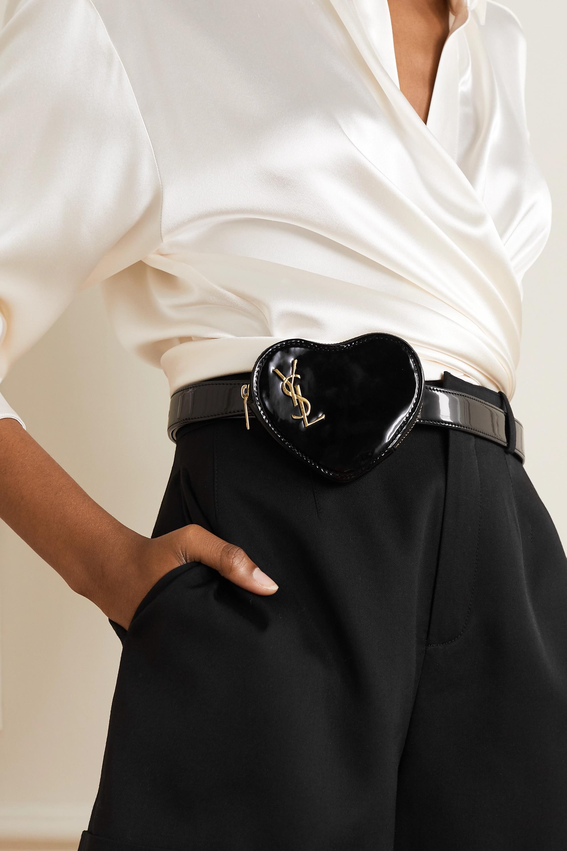 SAINT LAURENT Sac ceinture en cuir verni Coeur