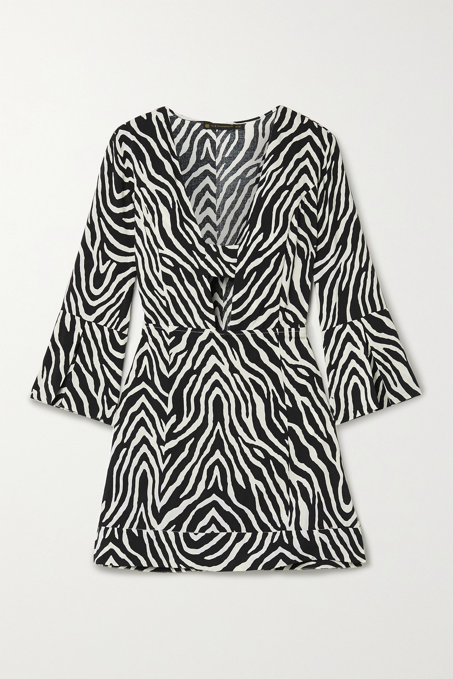 ViX Fiorella cutout zebra-print voile mini dress