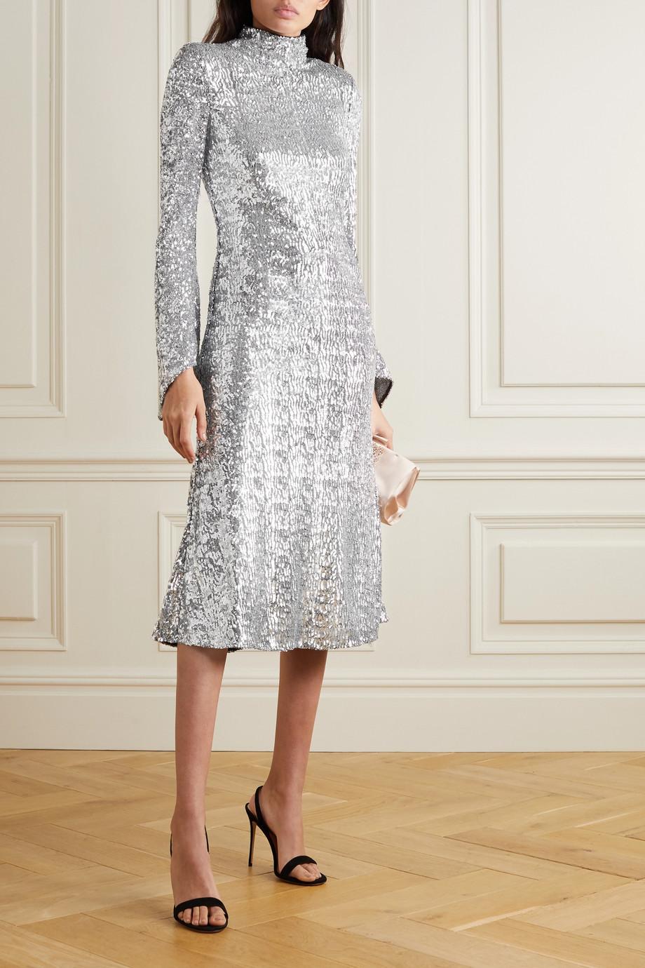 Rebecca Vallance Gatsby sequined crepe turtleneck midi dress