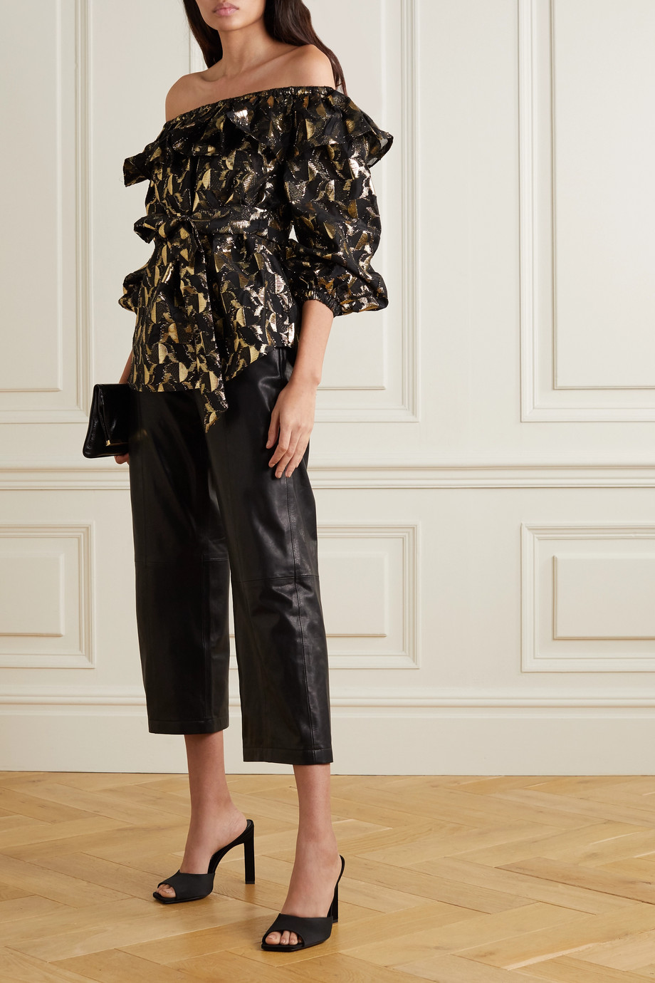 Rebecca Vallance Brocatto off-the-shoulder belted ruffled metallic fil coupé woven blouse