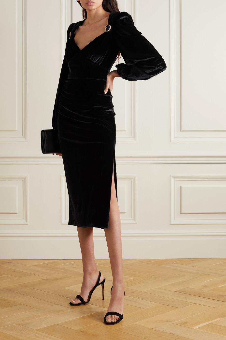 Rebecca Vallance Velluto crystal-embellished gathered velvet midi dress