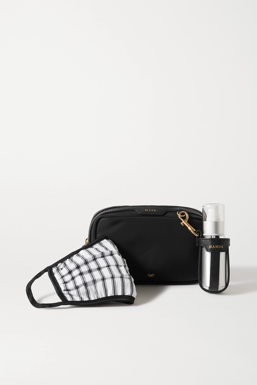 Anya Hindmarch Set aus Shell-Beutel, Mund- und Nasenbedeckung und Behälter für antibakterielles Handgel