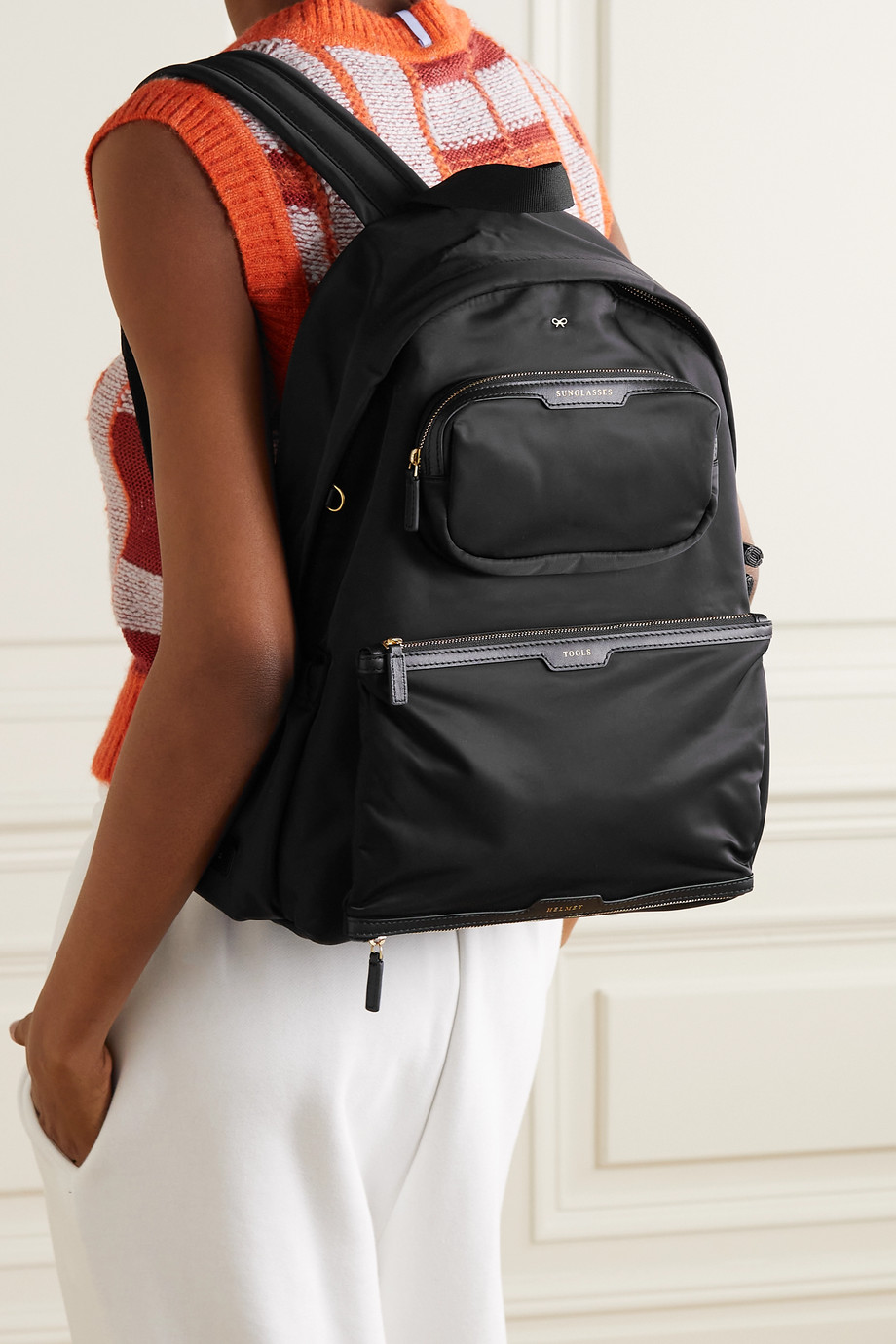 Anya Hindmarch Cycling leather-trimmed shell backpack