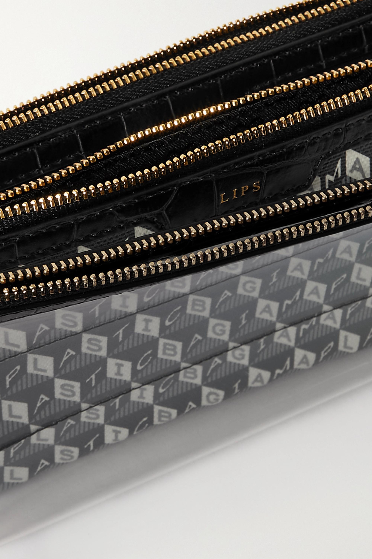 Anya Hindmarch Pochette en toile enduite imprimée et en PVC à finitions en cuir I Am A Plastic Bag