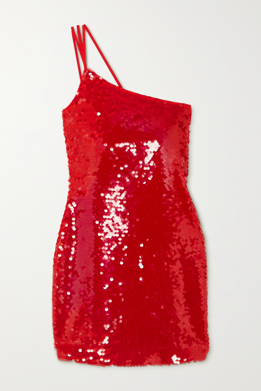 De La Vali One-shoulder sequined crepe mini dress
