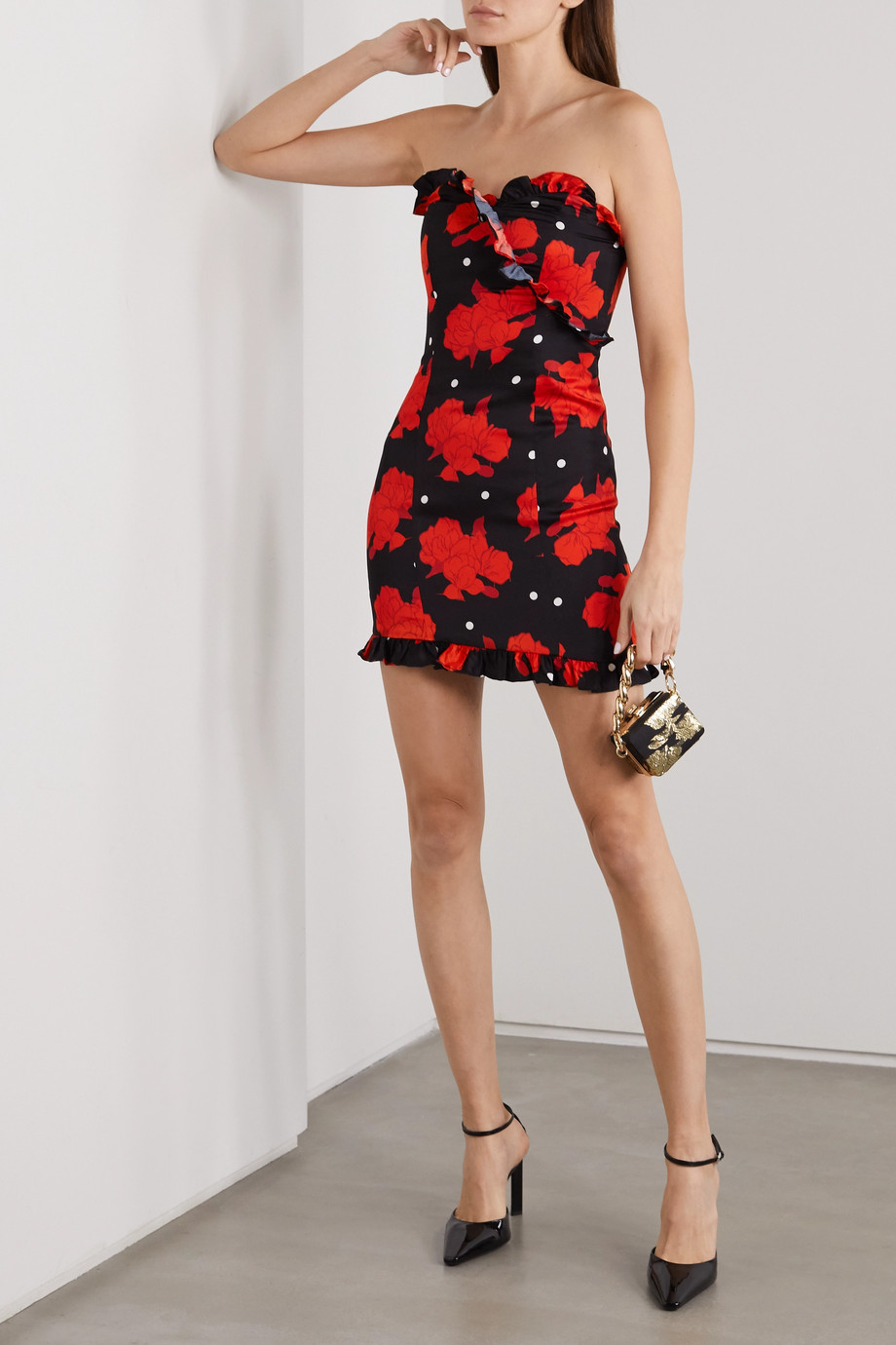 De La Vali Dolly strapless ruffled floral-print crepe mini dress