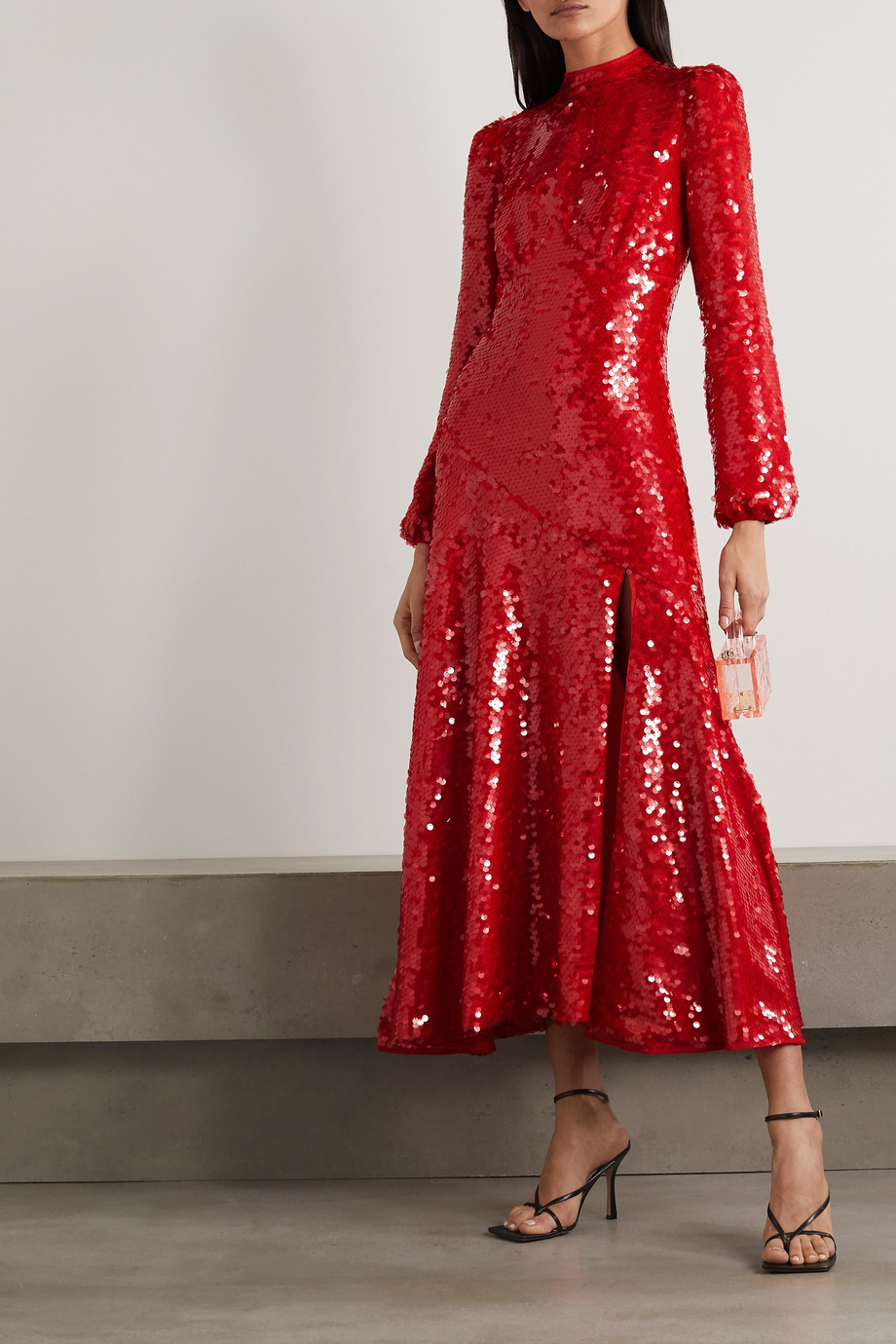 De La Vali Clara sequined crepe midi dress