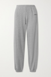 WSLY Embroidered organic cotton-blend jersey track pants