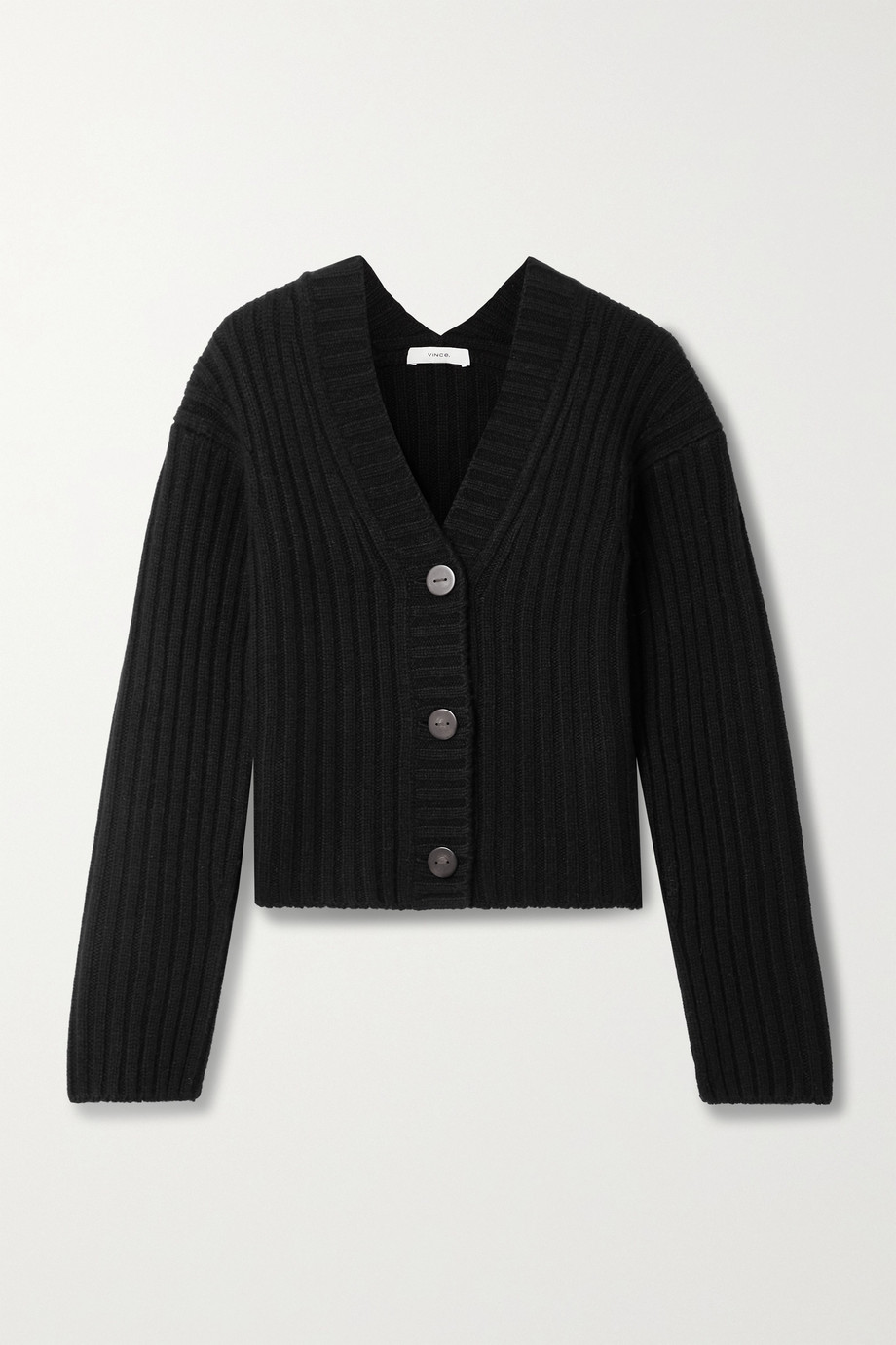 Vince Cropped ribbed wool and cashmere-blend cardigan