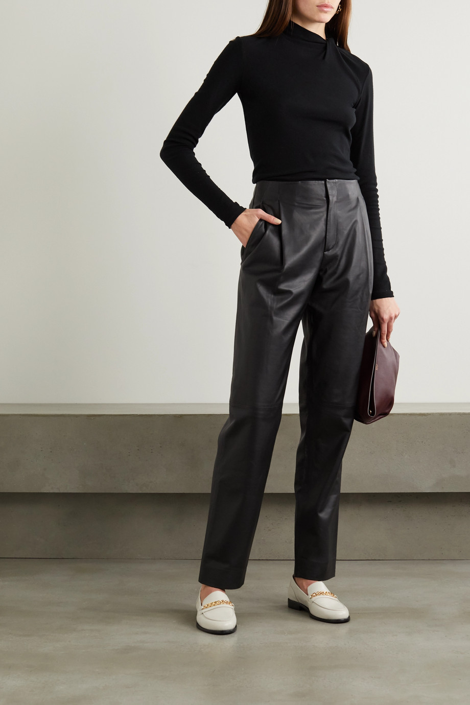 Vince Leather tapered pants