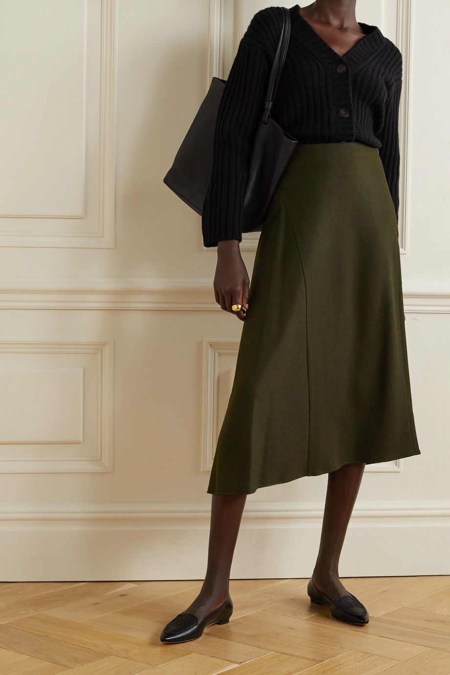 Vince Asymmetric wool-blend midi skirt