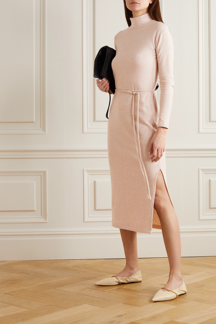 Vince Belted cotton-blend midi dress
