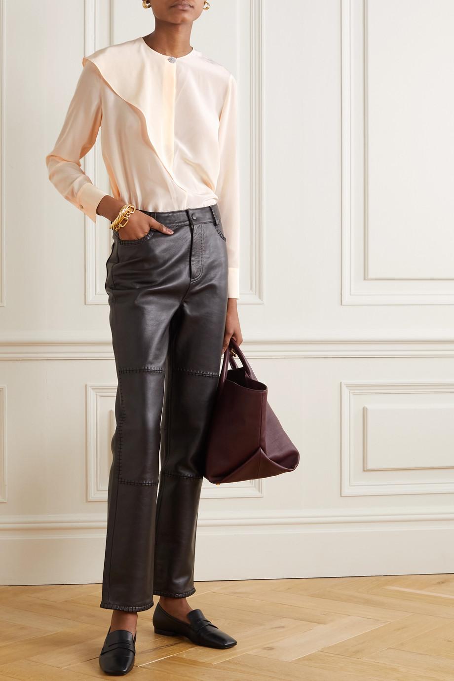 Vince Asymmetric draped silk-crepe blouse