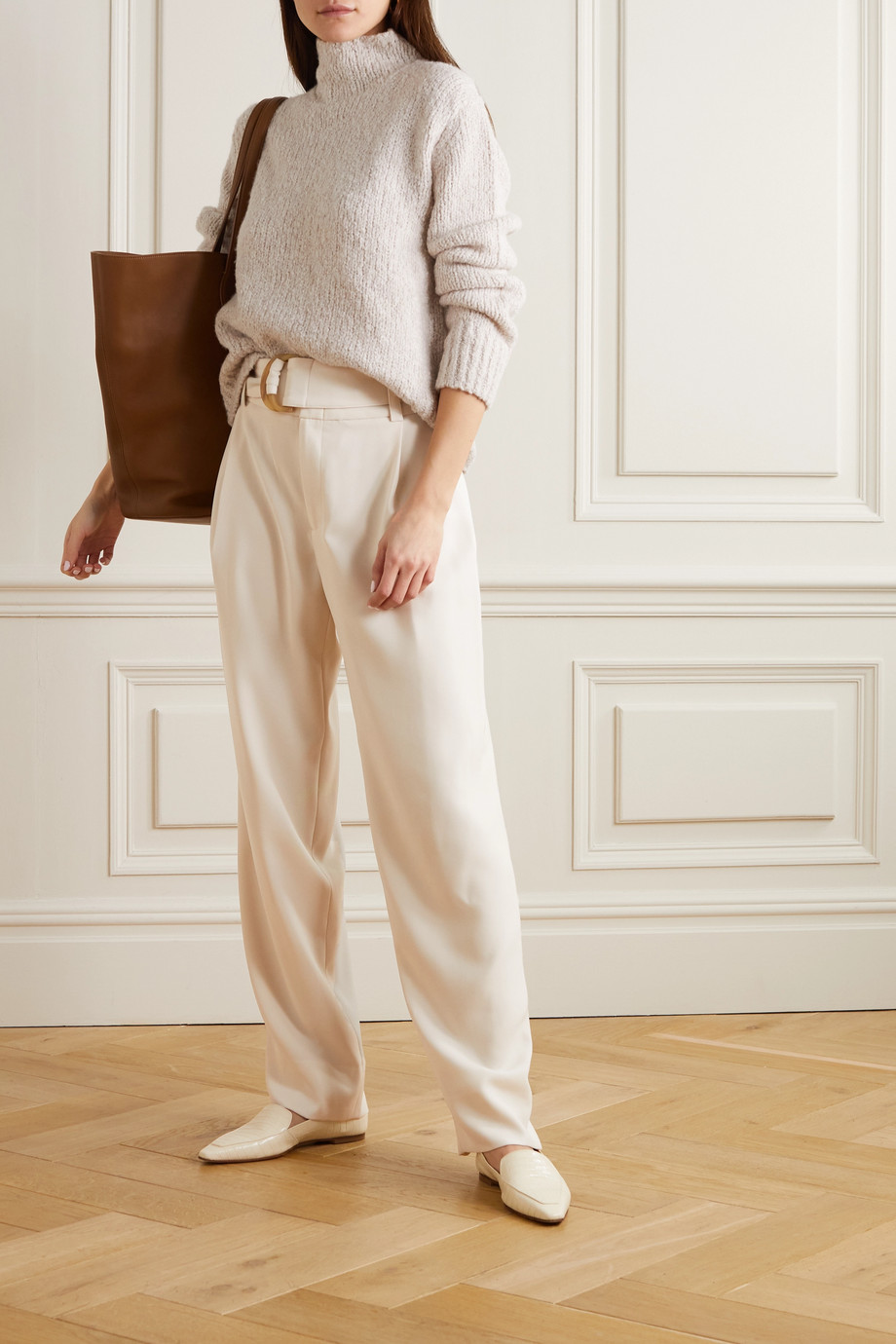 Vince Belted twill tapered pants