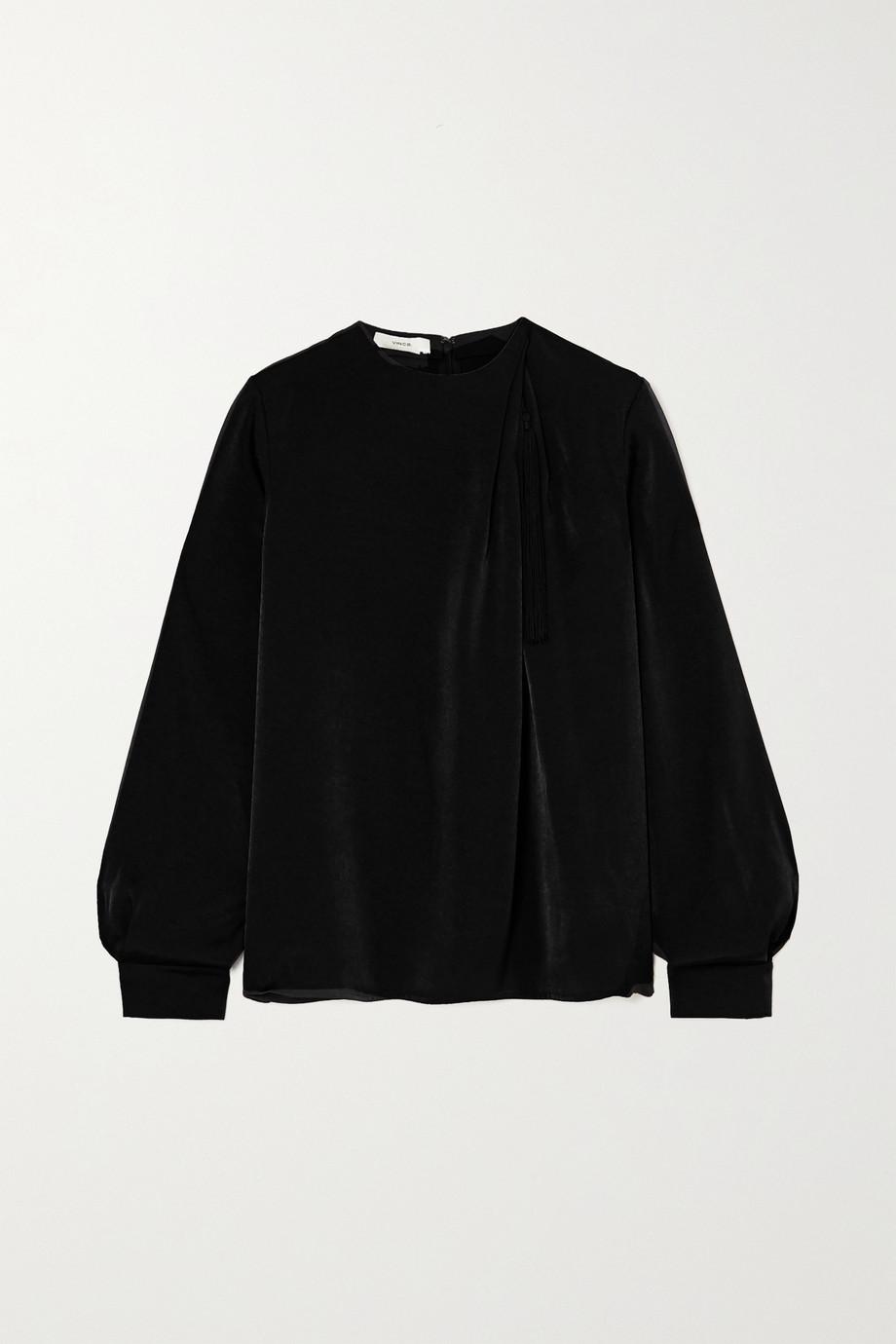 Vince Tasselled draped washed-satin blouse