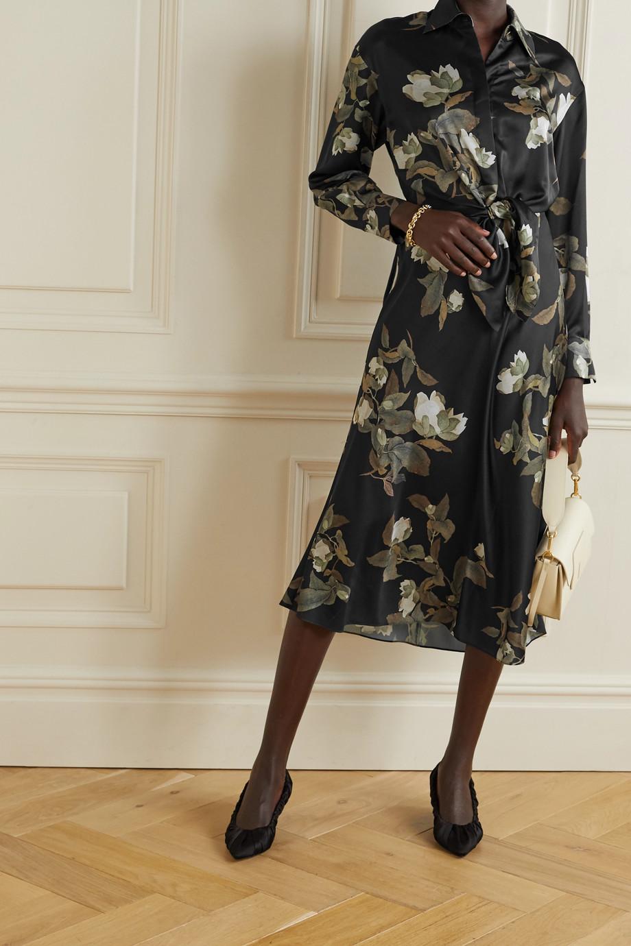 Vince Lisianthus tie-front floral-print satin midi shirt dress
