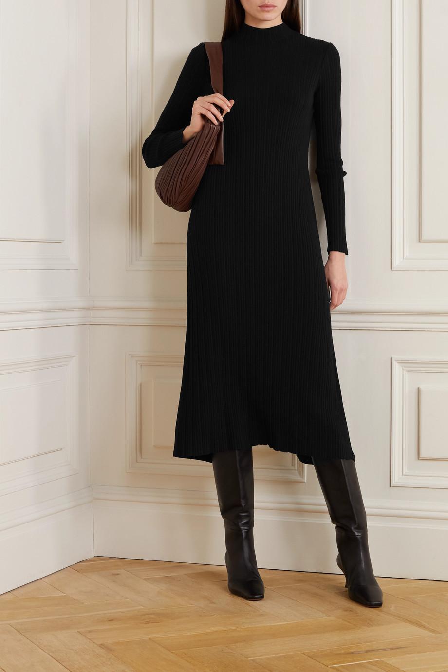 Vince Ribbed-knit and crepe turtleneck midi dress