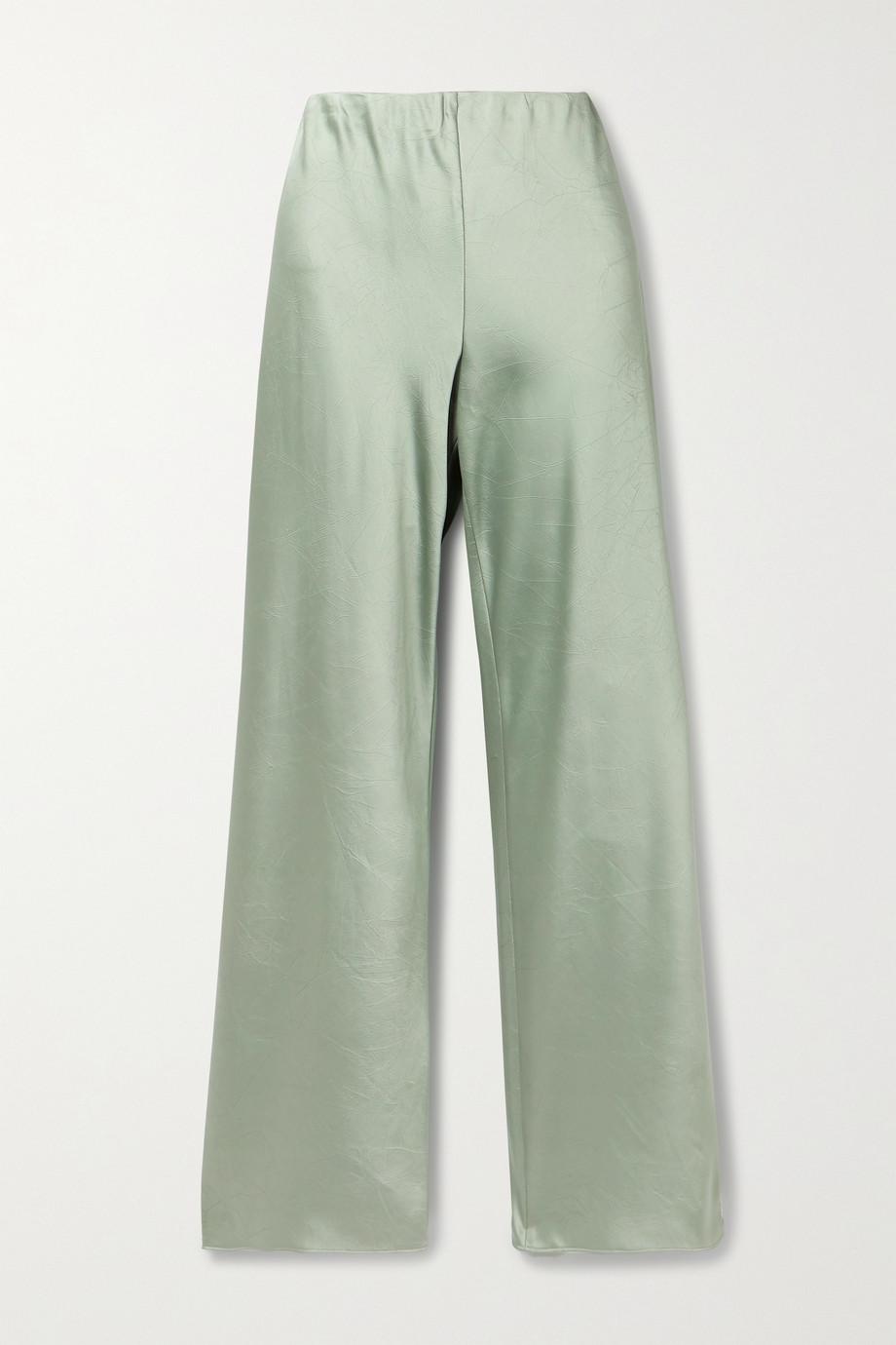 Vince 褶皱缎布直筒裤