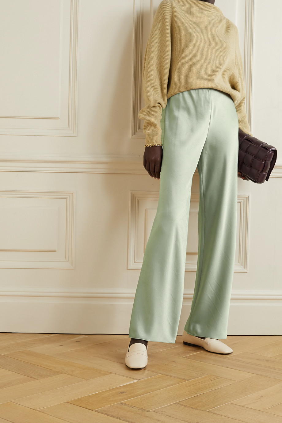 Vince Crinkled-satin straight-leg pants