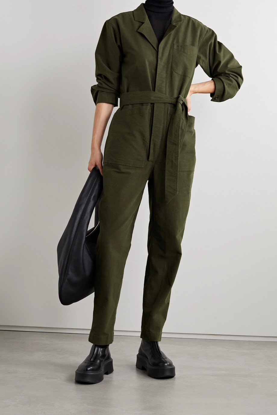 Alex Mill Standard belted cotton-blend moleskin jumpsuit