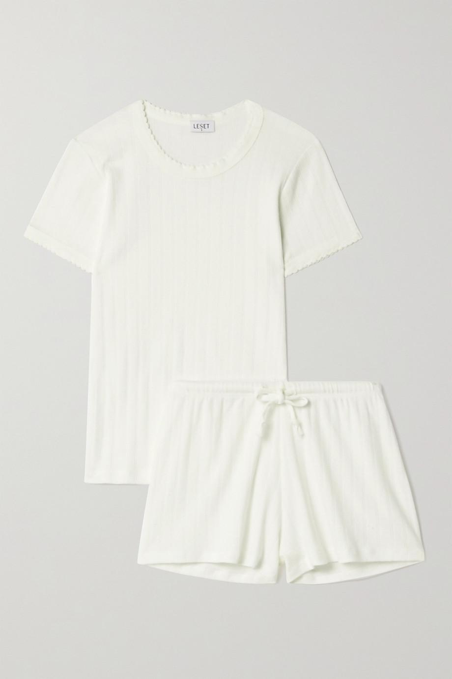LESET Pointelle-knit cotton-jersey pajama set