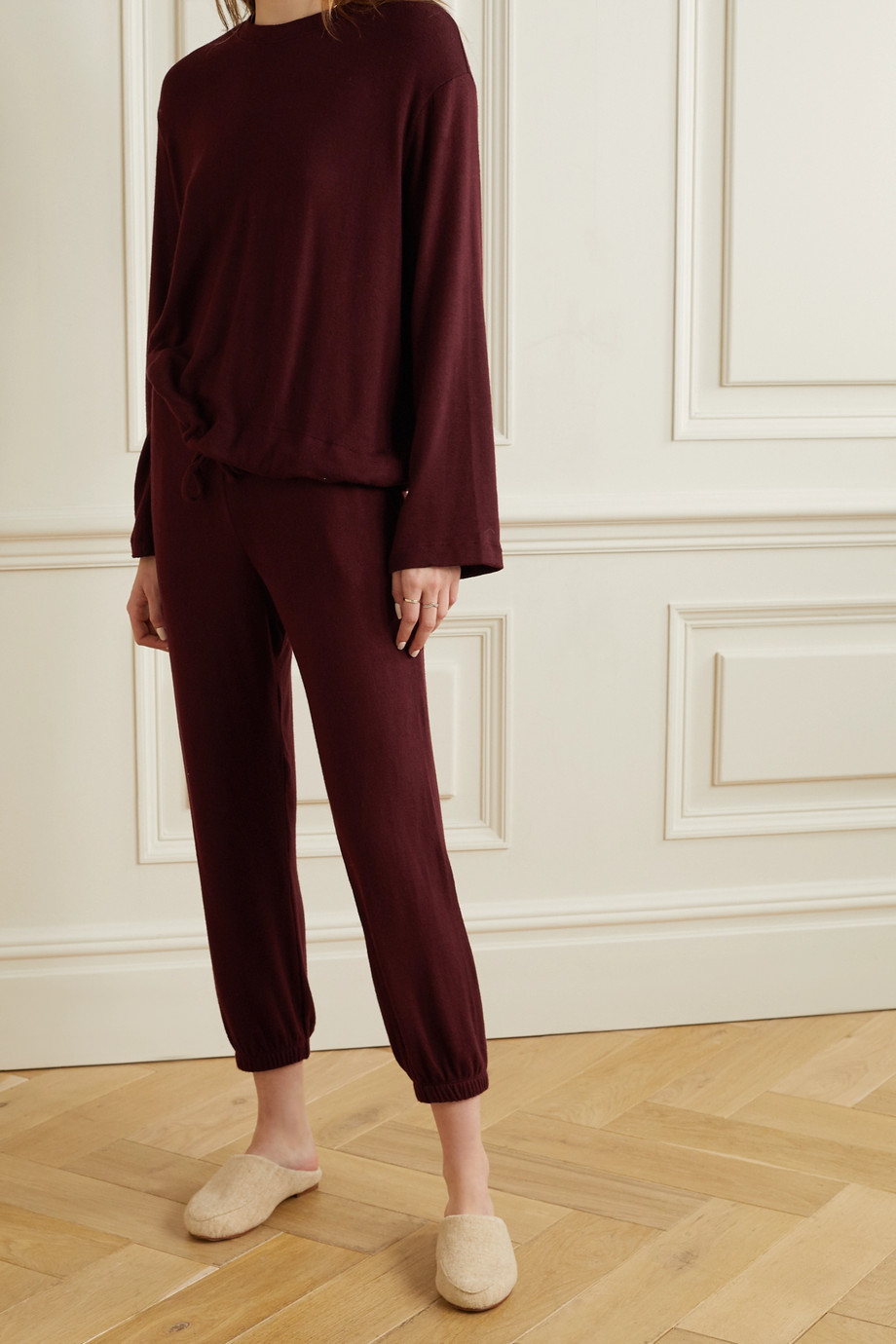 LESET Lori brushed stretch-jersey sweatshirt