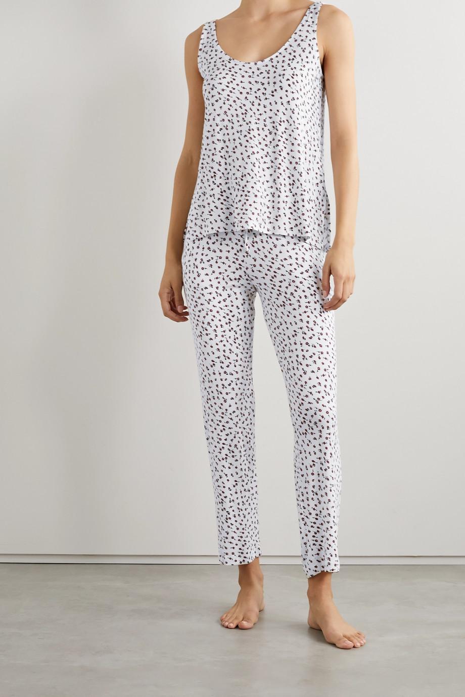 LESET Nora floral-print stretch-modal pajama set