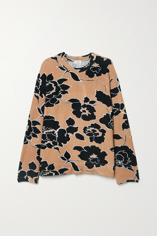 LESET Lori floral-print stretch-jersey sweatshirt