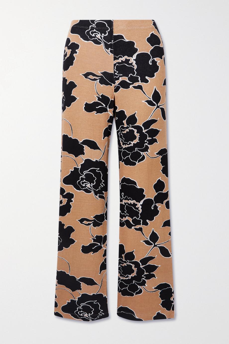 LESET Pantalon large en jersey stretch à imprimé fleuri Lori